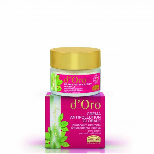 D'ORO elisir global antipollution cream purifying moisturizing antioxidant soothing, face, neck, decollete