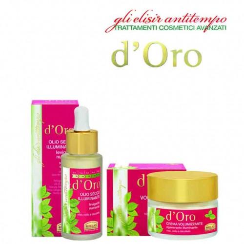 D'ORO volumizing cream & Dry Oil Radiance θρεπτικό ενυδατικό λάδι για πρόσωπο, λαιμό, ντεκολτέ